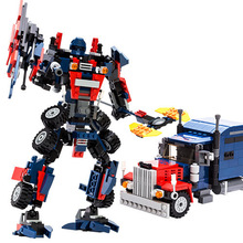 2015 New 377pcs optimus prime Transformation Robot 3D DIY building blocks sets enlighten children toys Legoe Compatible