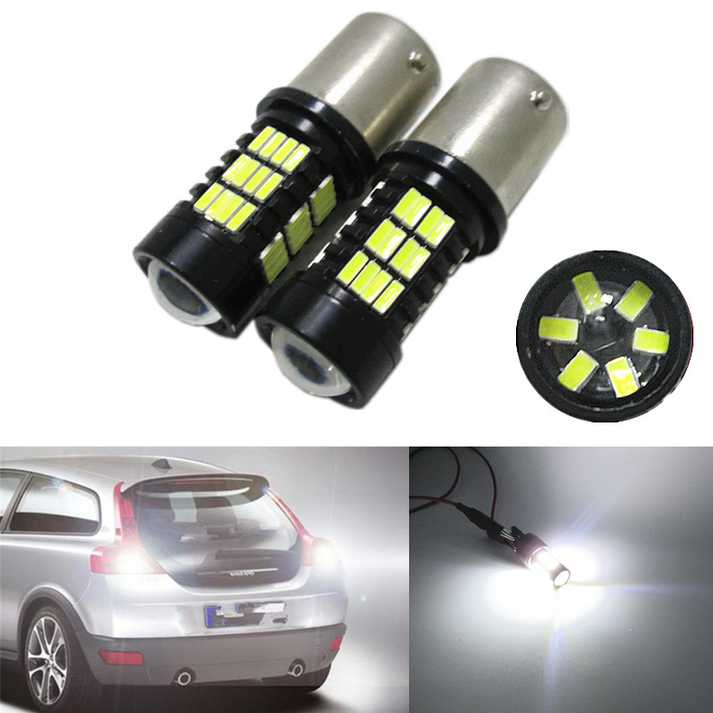 2pcs P21W LED 1156 BA15S 4014 54SMD LED Bulbs Car Lights 1200Lm Turn Signal Reverse Brake Light  LEDs 12V 24V Automobiles Lamp 2pcs brand new high quality superb error free 5050 smd 360 degrees led backup reverse light bulbs t15 for jeep grand cherokee