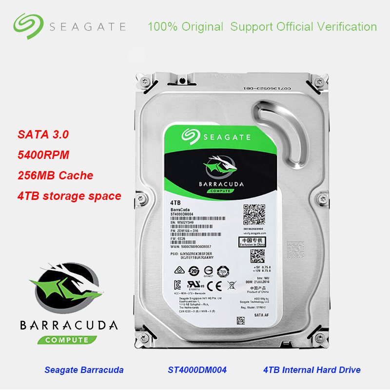 オリジナルシーゲイトの Barracuda 4 テラバイト 3.5 インチ内部 256 メガバイトキャッシュゲーム HDD5400RPM SATA 3.0 6 ギガバイト/秒ハードドライブディスクデスクトップ Pc  グループ上の パソコン & オフィス からの 内蔵HDD の中 1