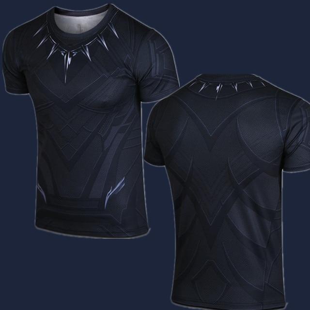comic superhero black panther t shirt captain america civil war tee t 39 challa t shirts short. Black Bedroom Furniture Sets. Home Design Ideas