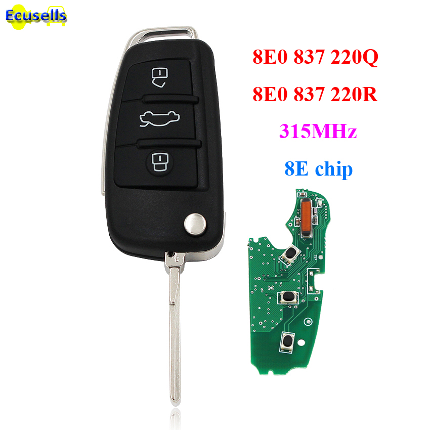 8E0837220Q Keyless Entry Folding flip smart Remote Key fob 3 button 315MHz 8E Chip for Audi