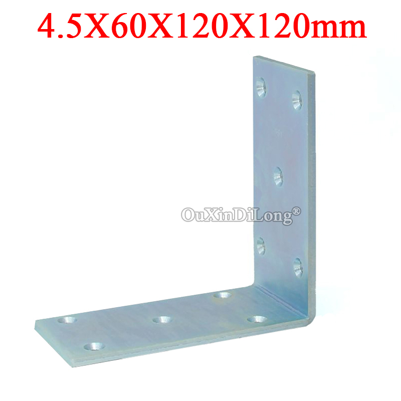 2PCS Metal Right Angle Corner Braces L Shape Furniture Connecting Fittings Frame Board Shelf Support Brackets 4.5X60X120X120mm ned 20x20x16mm practical stainless steel corner brackets joint fastening right angle thickened brackets for furniture home