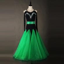 купить Standard Ballroom Dresses Adult Performance Dancing Wear Green Color Stage Tango Waltz Ballroom Competition Dance Costume  по цене 6345.73 рублей