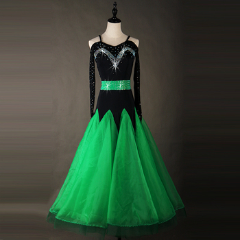 Standard Ballroom Dresses Adult Performance Dancing Wear Green Color Stage Tango Waltz Ballroom Competition Dance Costume