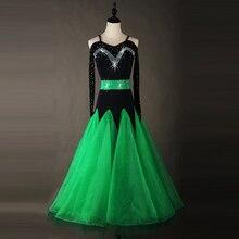 Standard Ballroom Dresses Adult Performance Dancing Wear Green Color Stage Tango Waltz Ballroom Competition Dance Costume
