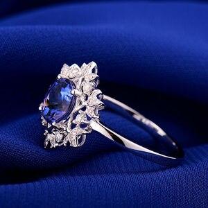Image 4 - Naturale AAA Tanzanite Anelli 18K Oro Bianco Rotondo 7 millimetri Diamante Naturale Tanzanite Anello di Tanzanite Gioielli WU271
