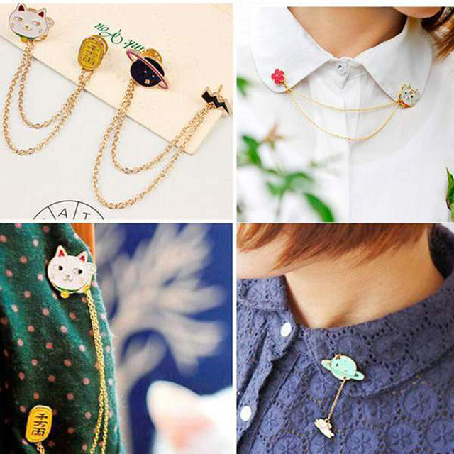 2016 New Women Girl Accessories Fashion Cute Egg Cat Moon Rabbit Chain Brooch Badge Pin Collar Brooch Jewelry Gift Free Shipping