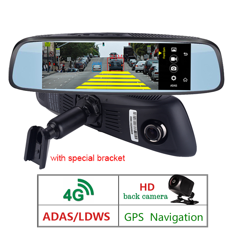 7 Polegada 4G GPS Câmera DVR Carro FHD 1080 P Android Traço Cam ADAS de Navegação Do Carro Gravador De Vídeo Dupla suporte de lente Original de volta
