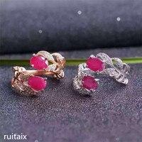 KJJEAXCMY fine jewelry 925 чистого серебра, инкрустированные с натуральный рубин леди пшеничной кольца ювелирные изделия простой и небольшой два слоя