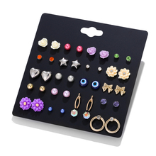 LUXSHINE Evil Eye Resin Flower Stud Earring Set for Women Gold Color Bowknot Star Cute Korean Earrings 20 Pairs/lot Gift Bijoux