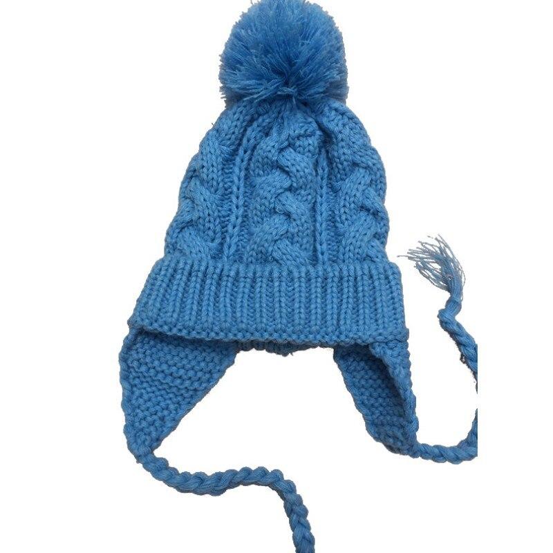 Winter Children Hat Knit Cotton Baby Kids Woolen Hat Children Ears Beanie Thick Soft Warm Cap Wool Ball Decoration Hats
