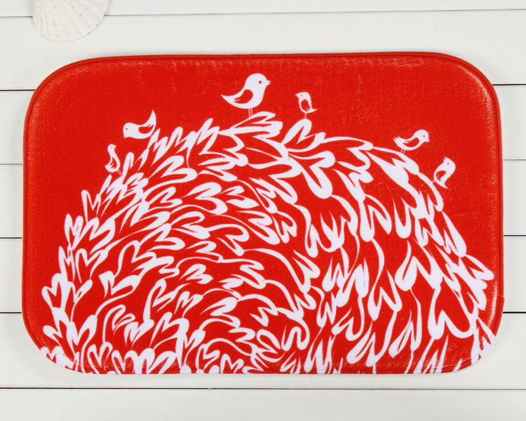 ⊹Nouveau Design oiseau rouge porte de la maison avant Non Slip Mat ...