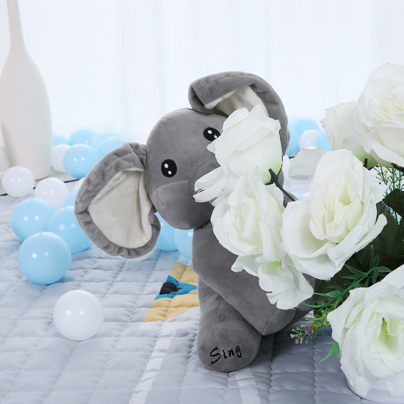 Peek A Boo Elephant Stuffed Animals Sing And Play Plush Doll Musical Educatinal Interactive Kawaii Electronic Plush Toys Gifts plush peek a boo dog toy peek a boo singing baby music toys ears flaping move interactive electronic pet doll children kids gift