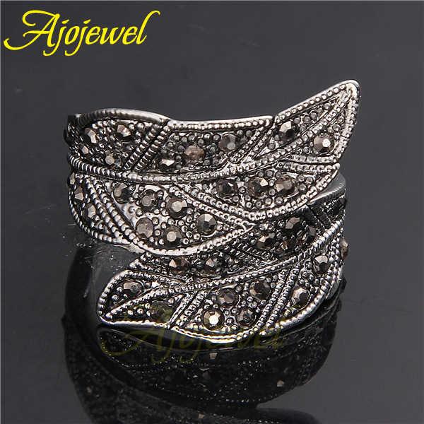 Модное ajojewel черное CZ широкое кольцо в виде листа для женщин ювелирные изделия в винтажном стиле