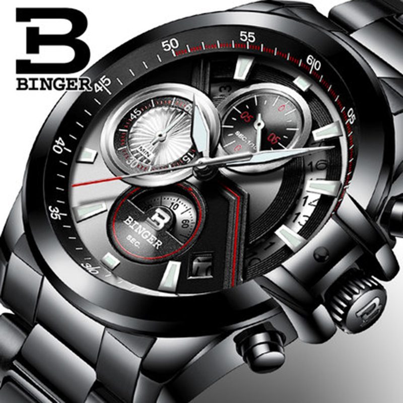 Genuine Luxury BINGER Brand Mens Quartz Multifunctional sports stopwatch watch Calendar male Luminous waterproof table