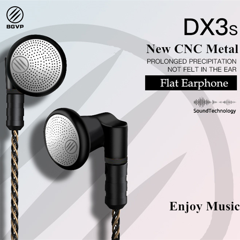 BGVP 2018 NEW DX3S Upgraded 2.5mm/ 3.5mm CNC Metal Flat Earphone OCC plated with silver MMCX cable HiFi Audiophile
