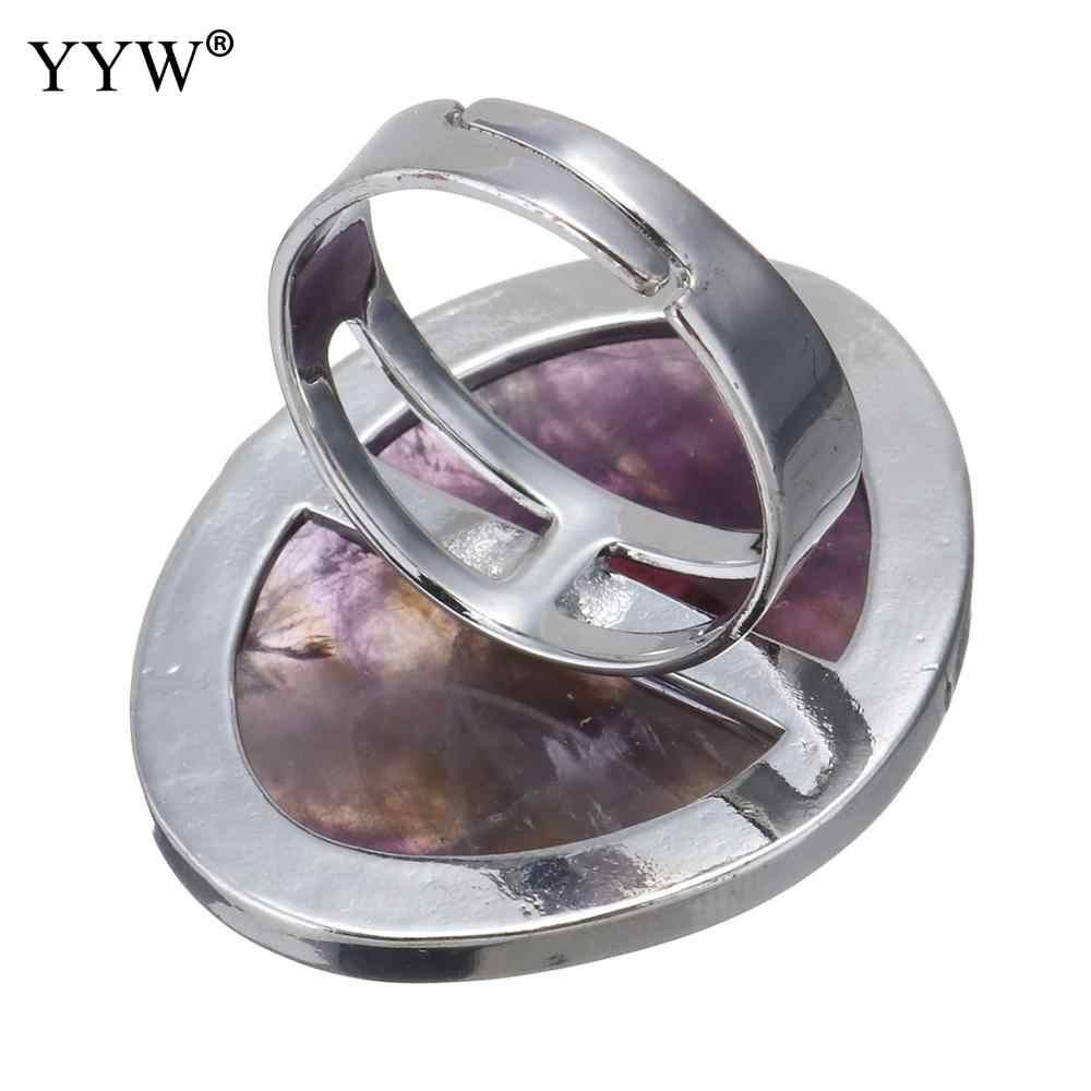 สีเงินโบราณหินธรรมชาติแหวนอเมทิสต์ Turquoises ทะเลโอปอล Full Finger แหวนสำหรับงานแต่งงานครบรอบแหวน