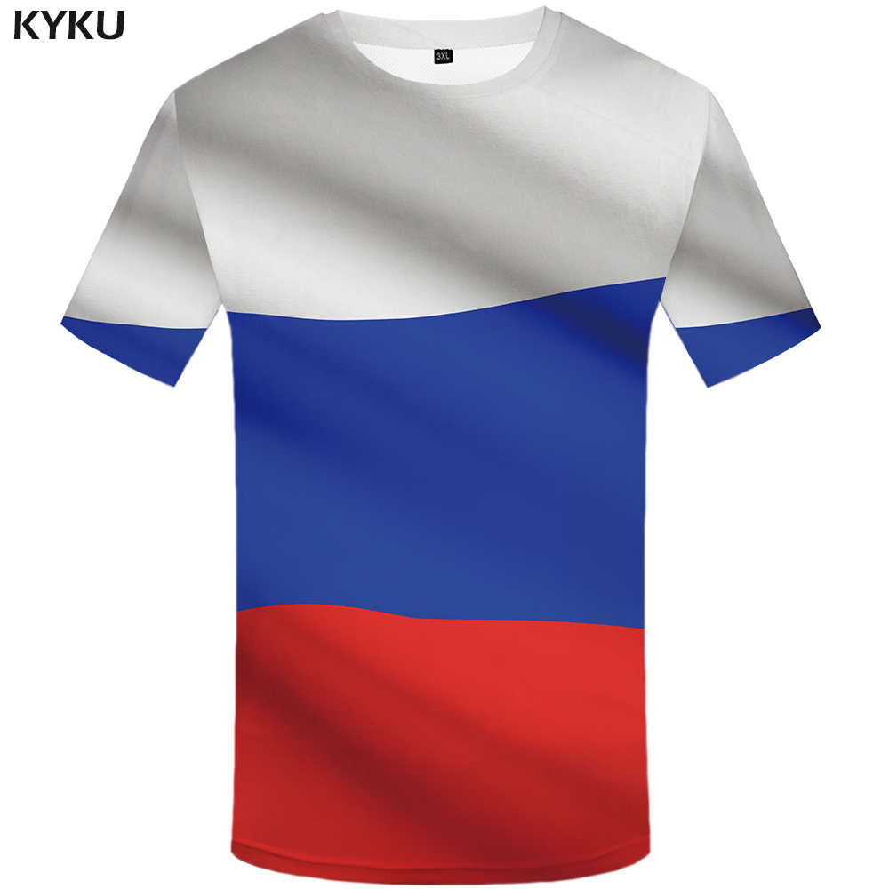 KYKU/брендовая футболка для России, футболка с русским флагом, 3D Футболка мужская, сексуальная одежда, мужские рубашки, удобные футболки с китайским принтом