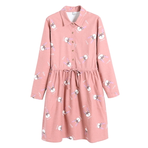 Spring Autumn Cotton Dresses Women Long Sleeve Deer Pattern Printed Dress Schoolgirls Casual Slim Party Dresses Vestidos Female by Banulin