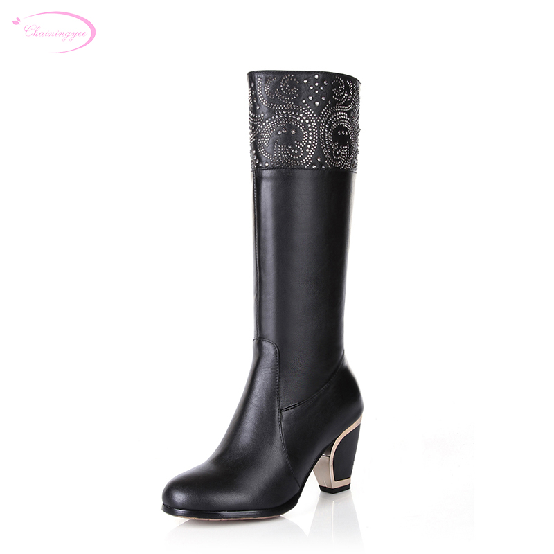 Chainingyee handmade high quality custom sexy knee high boots diamond slip-on leather high-heeled women riding boots handmade quality custom sexy charm contracted style leather side zippers rivet women s knight boots
