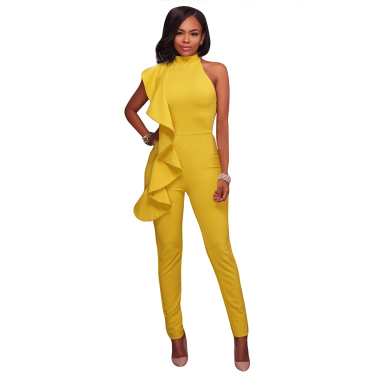 New Arrival Womens Solid Sexy Big Ruffles Jumpsuit Lady Ruffles Long Pants Body suit womens clothing K9095