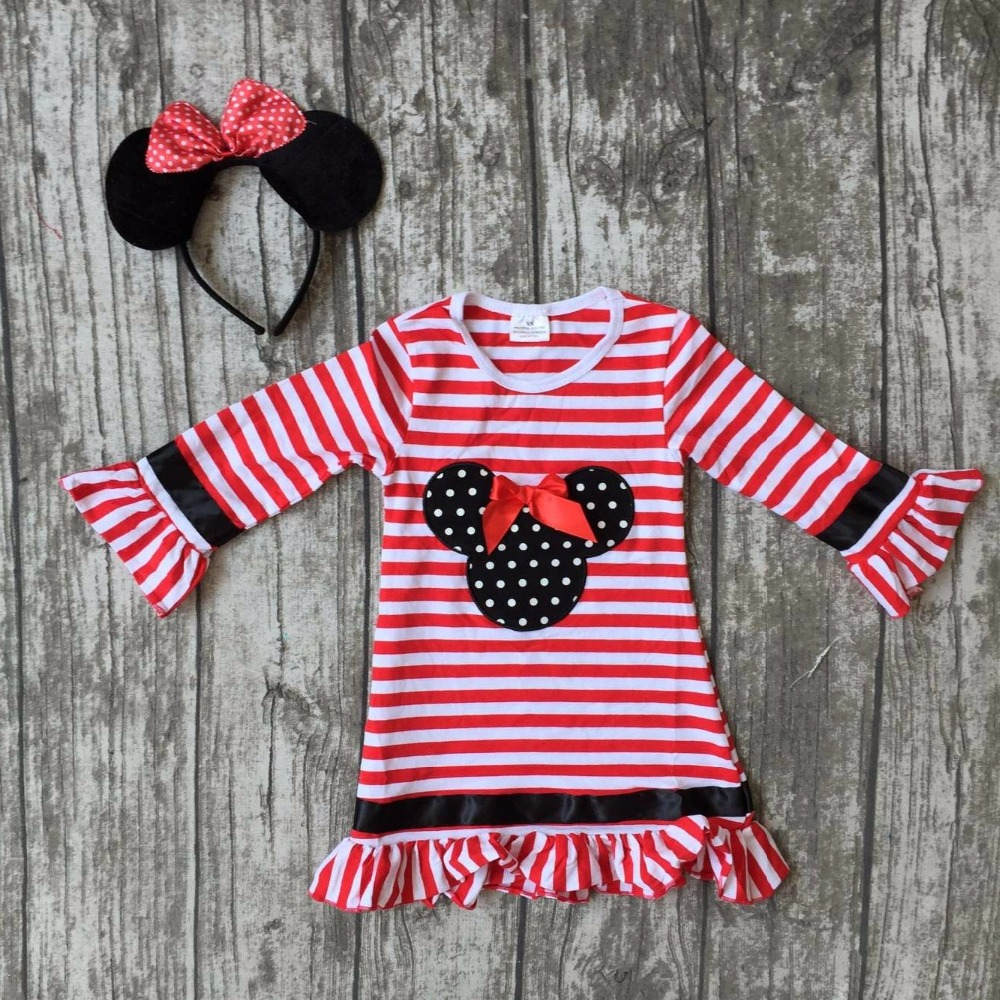 new arrival baby girls Fall dress cute party ruffle children kids minnie red stripes full long
