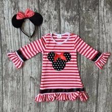 Nouvelle arrivée bébé filles Automne robe mignon à volants partie enfants enfants minnie rouge stripes full manches longues coton match accessoires