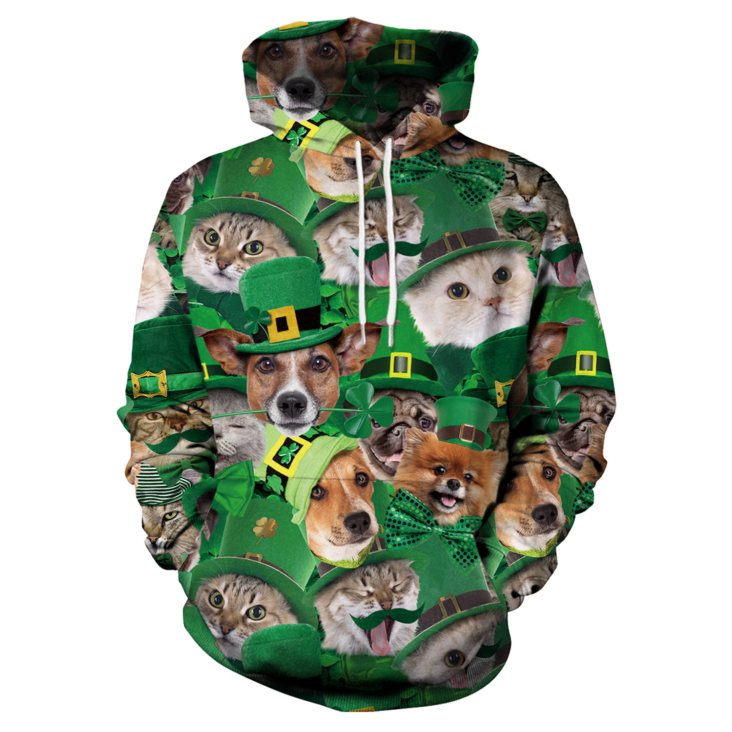 St Patrick's Day Green Hot Cat Dog Shamrocks Print Hoodies Men Hoodie with Hat Round Neck Loose Sweatshirt Pullover Streetwear