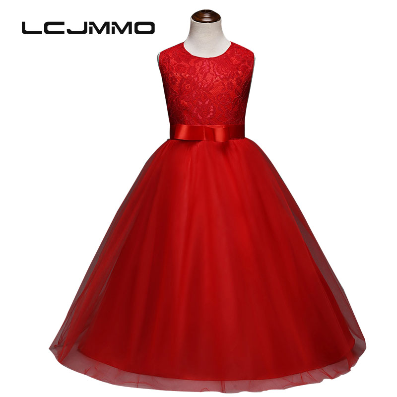 LCJMMO 2017 Girls Embroidery Dresses Summer Kids Sleeveless Floral Wedding party Dress For Girls Lace Princess Children Clothing children dresses 2017 summer fashion style girls lace princess dress kids sleeveless embroidery cute clothes dress for 3 7y