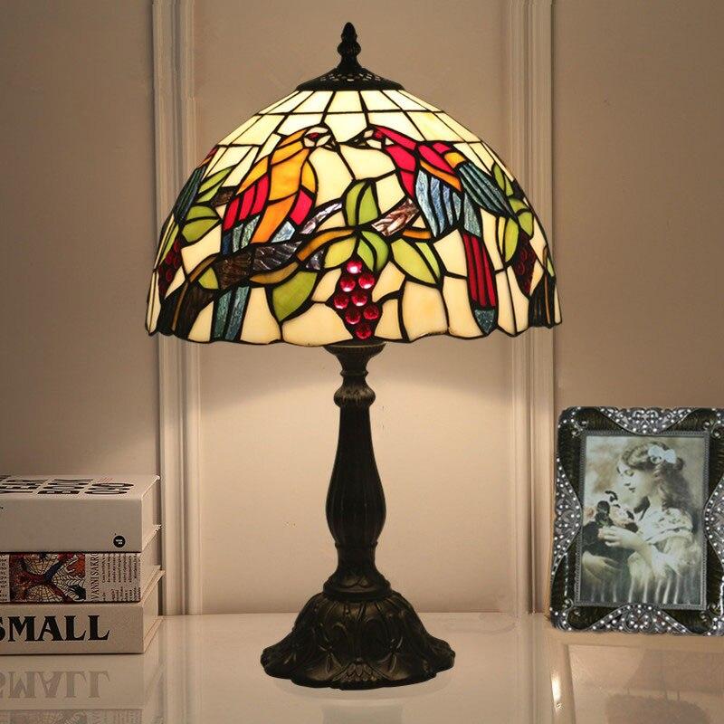 Abat-jour en verre LED d'économie d'énergie Vintage avec des lampes de Table d'oiseaux