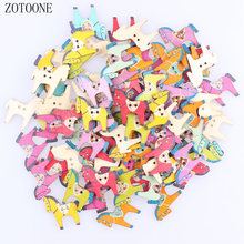 ZOTOONE 100pcs/lot Random Mixed Color 2 Holes Wooden Horse Buttons Scrapbooking Decorative Apparel Sewing for Children C