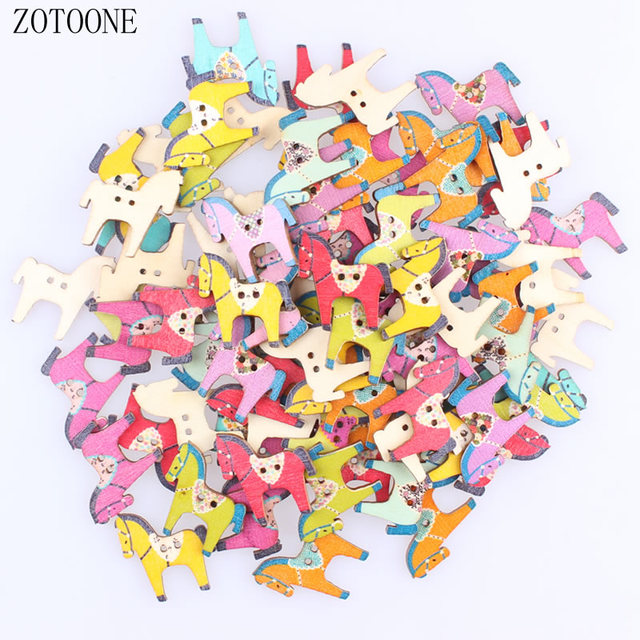 Us 078 15 Offzotoone 100pcslot Random Mixed Color 2 Holes Wooden Horse Buttons Scrapbooking Decorative Buttons Apparel Sewing For Children C In