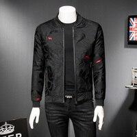 2019 Puff Jacquard Black Bomber Jacket Men Spring Autumn Men Casual Jacket Coat Flower Slim Fit Pattern Bomber Jacket Men 5xl