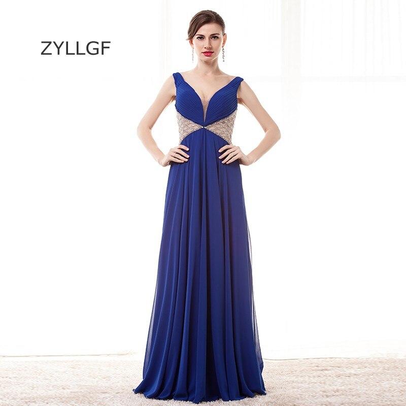 ZYLLGF robe de soirée bleu Royal 2019 gaine col en V Sexy profonde col en V strass perlé robes de soirée longues Q121