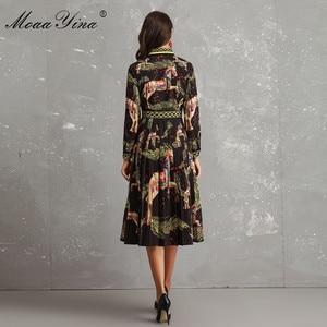 Image 5 - MoaaYina Fashion Designer Runway Dress Autumn Women Long sleeve Bowknot Animal Printed Slim Vintage Black Elegant Draped Dress
