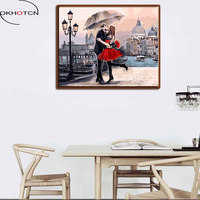 OKHOTCN Kissing Lover Oil Canvas By Numbers On Canvas DIY Hand Painted Romantic Painting Coloring By