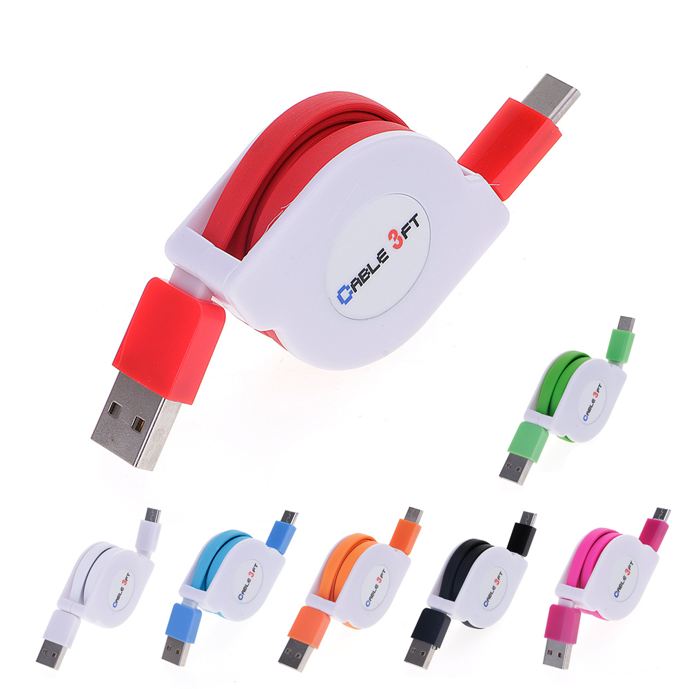 New 1M Retractable USB 3.1 Type C Data Sync Charger