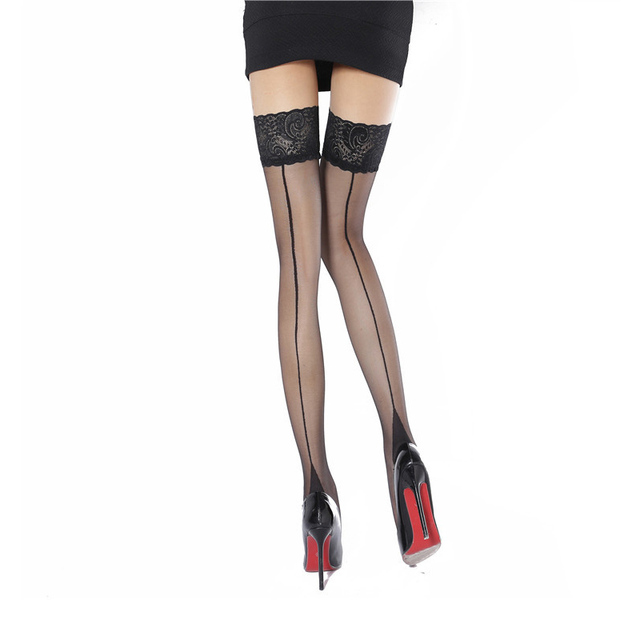 c62d6aab8 Fasbys 3 Style Sheer Thigh High Stocking for Women Back Seam Cuban Heel  Stockings Perfect Rib Top Edge and Back Seam Pantyhose