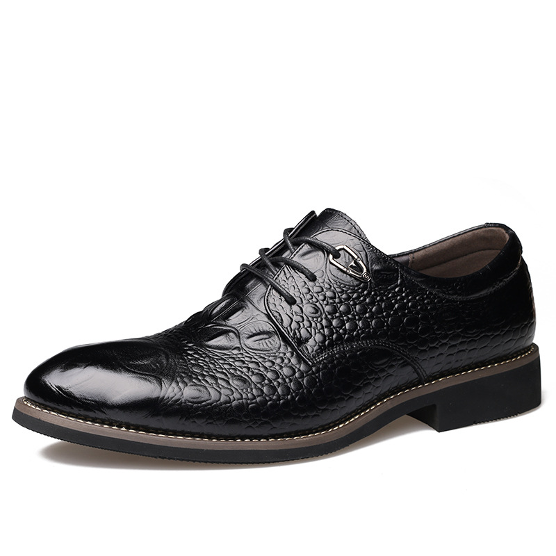 Luxury Brand Genuine Leather Men's Shoes Pointed Toe Lace-up Business Casual Shoes Fashion Men Oxfords Flats Shoes Black Brown 8 new brand designer formal men dress shoes lace up business party oxfords shoes for men pointed toe brogues men s flats plus size