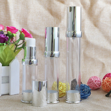 15ml 20ml 30ml Empty Silver Refillable Bottles Airless Pump Dispenser Packaging Containers for Makeup Liquid Lotion 10pcs/lot