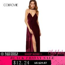63f02a951a COLROVIE Burgundii Velvet Maxi Backless Sukienka Kobiet Jesień Party Suknie  Głębokie V Neck Długa Elegancka Sukienka Nowy Strapp.