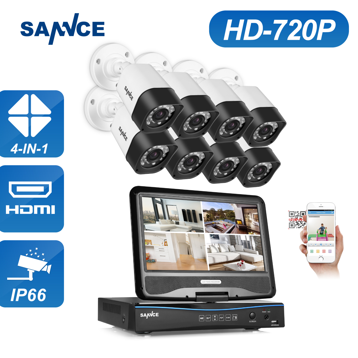 SANNCE 8CH Security Camera System 1080N DVR Reorder 8pcs HD 720P Outdoor Security CCTV Camera Surveillance System