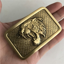 Retail 2018 New Style High Quality 3D Tiger Head Solid Brass Men Belt Buckle With 8*5cm Metal Cowboy For 4cm Wide
