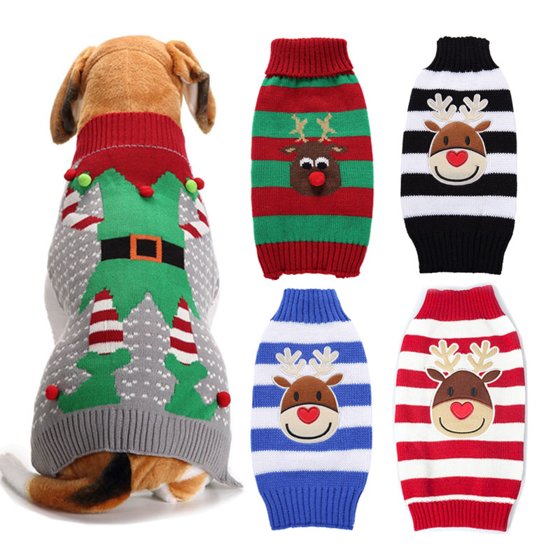 Christmas Dog Sweater Winter Clown Puppy Clothing Warm Xmas Reindeer Dog Clothes for Small Medium Pet Dogs roupas para cachorro ...