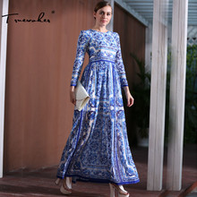 Truevoker Дизайнер Макси платье Для женщин высокое качество с длинным рукавом Винтаж синий и белый фарфор печатных длинное платье 2 Длина