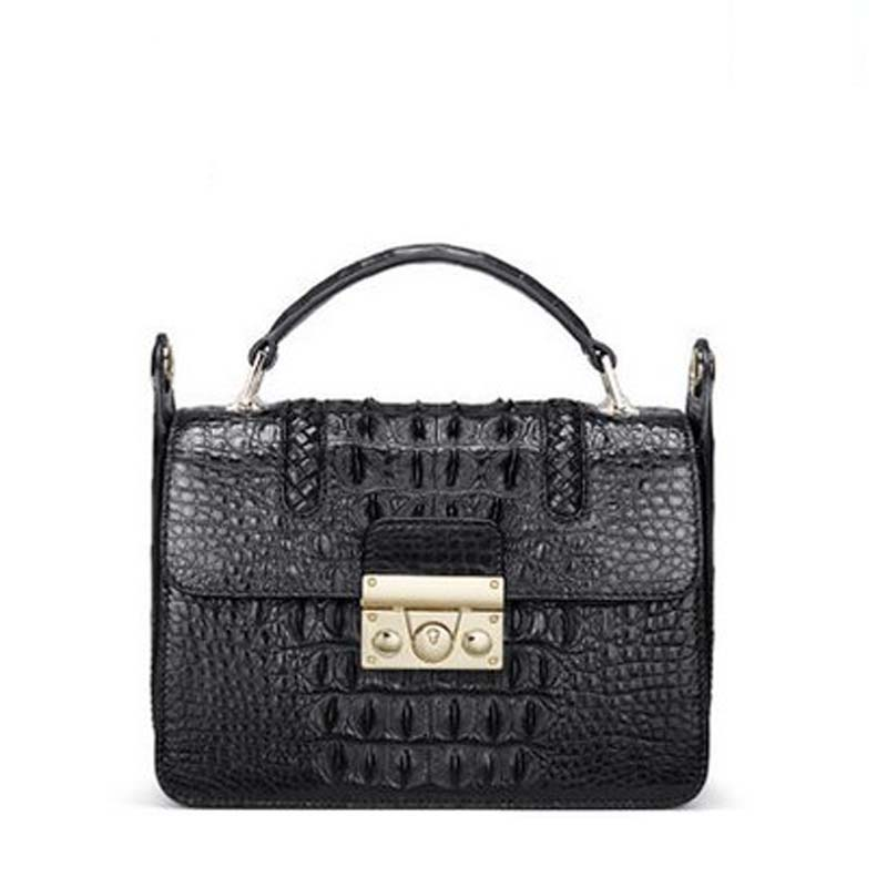 2018 gete  New crocodile skins Thai crocodile leather lock buckle single shoulder bag satchel handbag female saddle women bag skins skins dnamic tight