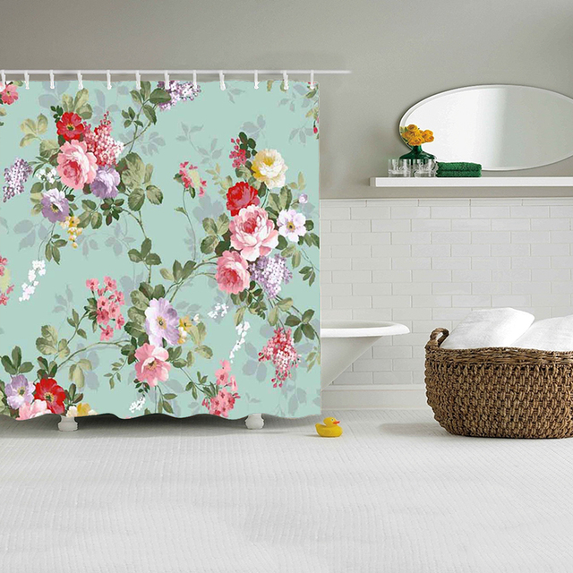Floral Shower Curtain Spring Blossom Flowers Print For Bathroom ...