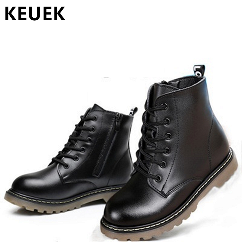 Genuine leather Ankle Motorcycle boots Autumn Winter Children Martin boots Brand Boys Girls shoes Lace-Up Kids Snow boots 020 2016 winter children genuine leather boots brand boys cotton buckle shoes fashion ankle martin boots for kids