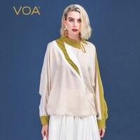 VOA бежевый пуловер с широкими рукавами Повседневное шелк Футболка Для женщин Свободные топы футболка с длинными рукавами Дамы Одежда выдал