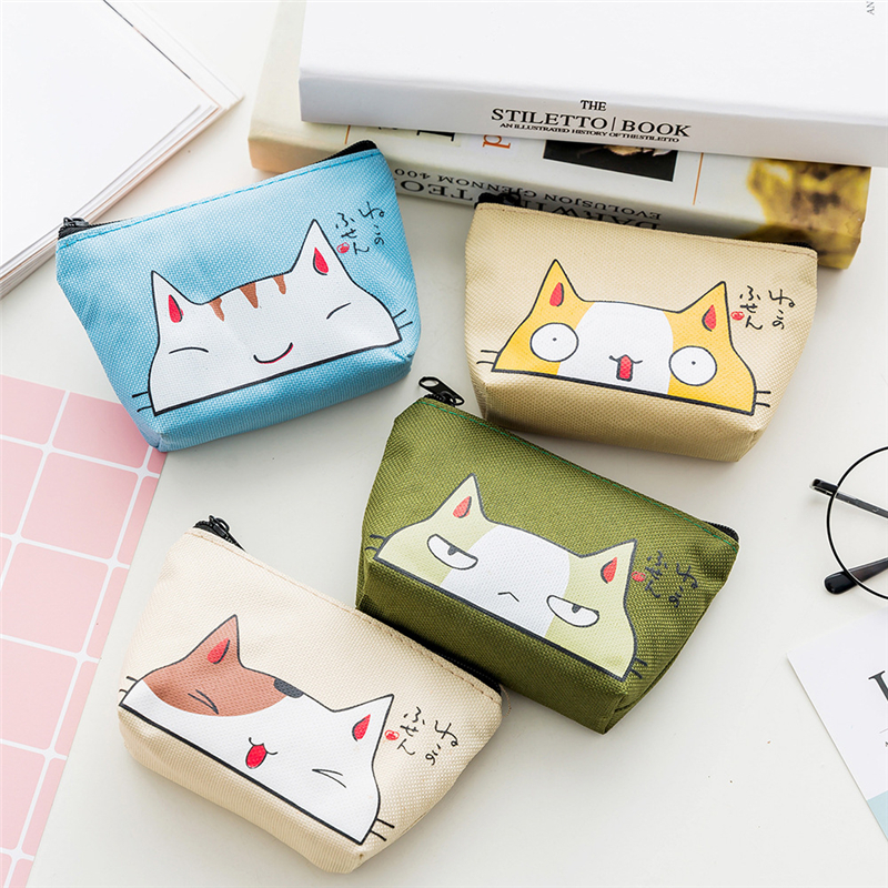 PACGOTH Japanese and Korean Style Oxford Coin Purses Kawaii Cartoon Animal Prints Cute Cats Pattern Creative Zipper Pouches 1 PC